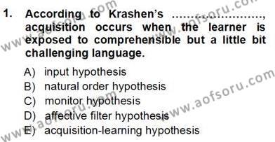 Dil Edinimi Dersi 2012 - 2013 Yılı Ara Sınavı 1. Soru