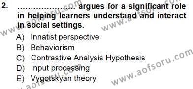 Dil Edinimi Dersi 2012 - 2013 Yılı (Vize) Ara Sınav Soruları 2. Soru