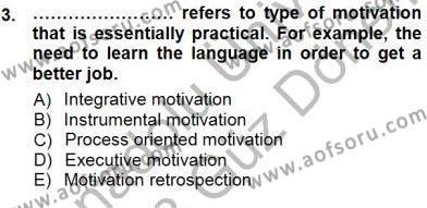 Dil Edinimi Dersi 2012 - 2013 Yılı Dönem Sonu Sınavı 3. Soru