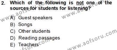 İngilizce Öğretmenliği Bölümü 7. Yarıyıl Dil Edinimi Dersi 2014 Yılı Güz Dönemi Tek Ders Sınavı 2. Soru