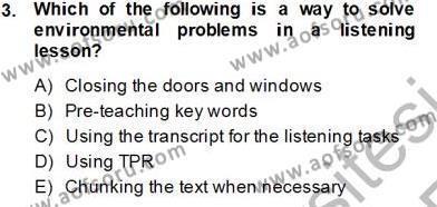 Dil Edinimi Dersi 2013 - 2014 Yılı Tek Ders Sınavı 3. Soru