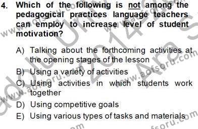 Dil Edinimi Dersi 2014 - 2015 Yılı Ara Sınavı 4. Soru
