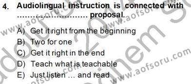 İngilizce Öğretmenliği Bölümü 7. Yarıyıl Dil Edinimi Dersi 2015 Yılı Güz Dönemi Dönem Sonu Sınavı 4. Soru