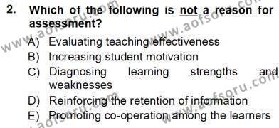 Yabancı Dil Öğretiminde Ölçme Ve Değerlendirme 1 Dersi 2012 - 2013 Yılı Ara Sınavı 2. Soru