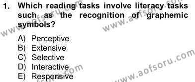 İngilizce Öğretmenliği Bölümü 8. Yarıyıl Yabancı Dil Öğretiminde Ölçme Ve Değerlendirme II Dersi 2013 Yılı Bahar Dönemi Ara Sınavı 1. Soru