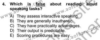 Yabancı Dil Öğretiminde Ölçme Ve Değerlendirme 2 Dersi 2012 - 2013 Yılı Ara Sınavı 4. Soru