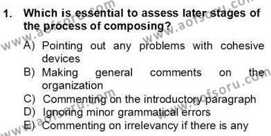 Yabancı Dil Öğretiminde Ölçme Ve Değerlendirme 2 Dersi 2012 - 2013 Yılı (Final) Dönem Sonu Sınav Soruları 1. Soru