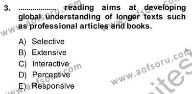 Yabancı Dil Öğretiminde Ölçme Ve Değerlendirme 2 Dersi 2013 - 2014 Yılı Ara Sınavı 3. Soru