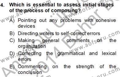 Yabancı Dil Öğretiminde Ölçme Ve Değerlendirme 2 Dersi 2013 - 2014 Yılı (Final) Dönem Sonu Sınav Soruları 4. Soru
