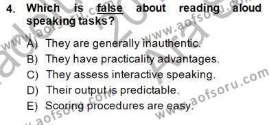 Yabancı Dil Öğretiminde Ölçme Ve Değerlendirme 2 Dersi 2014 - 2015 Yılı Ara Sınavı 4. Soru
