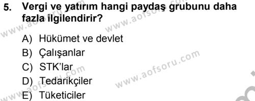 Konaklama İşletmeciliği Bölümü 5. Yarıyıl Stratejik Yönetim Dersi 2013 Yılı Güz Dönemi Ara Sınavı 5. Soru