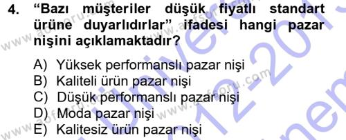 Konaklama İşletmeciliği Bölümü 5. Yarıyıl Stratejik Yönetim Dersi 2013 Yılı Güz Dönemi Dönem Sonu Sınavı 4. Soru