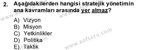 Konaklama İşletmeciliği Bölümü 5. Yarıyıl Stratejik Yönetim Dersi 2015 Yılı Güz Dönemi Dönem Sonu Sınavı 2. Soru