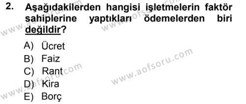 İşletme İlkeleri Dersi 2012 - 2013 Yılı Ara Sınavı 2. Soru