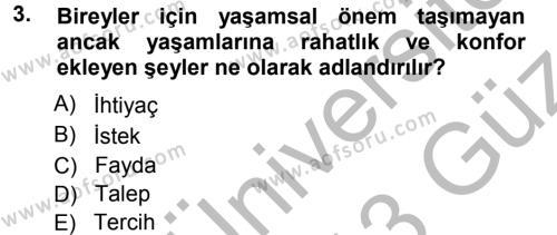İşletme İlkeleri Dersi 2012 - 2013 Yılı Ara Sınavı 3. Soru