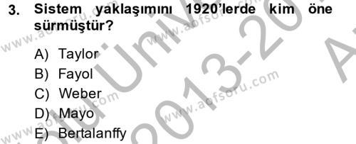İşletme Yönetimi Bölümü 2. Yarıyıl İşletme Fonksiyonları Dersi 2014 Yılı Bahar Dönemi Ara Sınavı 3. Soru