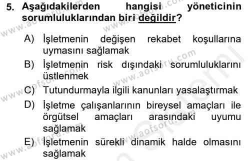 Lojistik Bölümü 2. Yarıyıl İşletme Fonksiyonları Dersi 2016 Yılı Bahar Dönemi Ara Sınavı 5. Soru