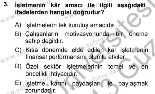Genel İşletme Dersi 2012 - 2013 Yılı Ara Sınavı 3. Soru