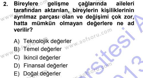 Genel İşletme Dersi 2012 - 2013 Yılı (Final) Dönem Sonu Sınavı 2. Soru