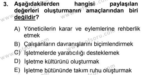 Turizm ve Seyahat Hizmetleri Bölümü 1. Yarıyıl Genel İşletme Dersi 2013 Yılı Güz Dönemi Dönem Sonu Sınavı 3. Soru