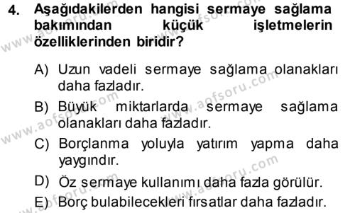 Genel İşletme Dersi 2013 - 2014 Yılı Ara Sınavı 4. Soru