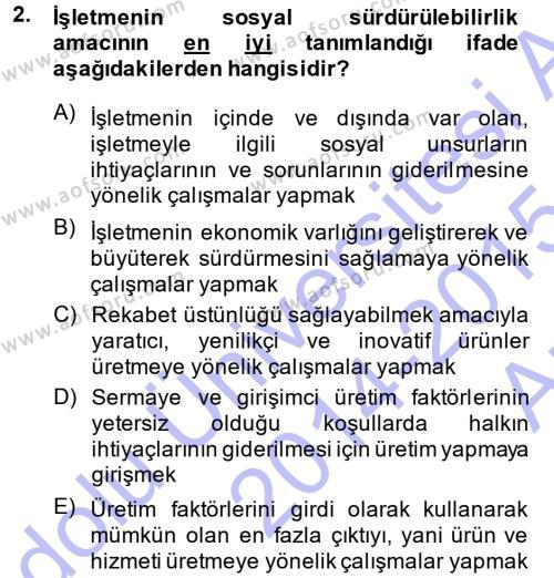 Emlak ve Emlak Yönetimi Bölümü 1. Yarıyıl Genel İşletme Dersi 2015 Yılı Güz Dönemi Ara Sınavı 2. Soru