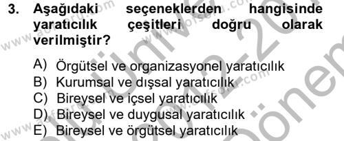 Turizm ve Otel İşletmeciliği Bölümü 2. Yarıyıl Girişimcilik Dersi 2013 Yılı Bahar Dönemi Dönem Sonu Sınavı 3. Soru