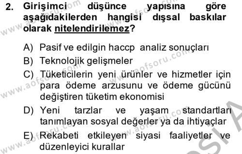 Sosyal Hizmet Bölümü 2. Yarıyıl Girişimcilik Dersi 2014 Yılı Bahar Dönemi Ara Sınavı 2. Soru