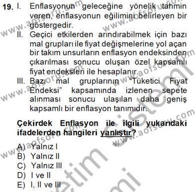 Ekonomik Analiz Dersi Ara Sınavı Deneme Sınav Soruları 19. Soru