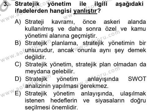 Kamu Yönetimi Dersi 2012 - 2013 Yılı Ara Sınavı 3. Soru