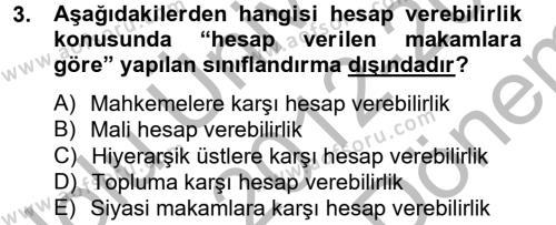 Kamu Yönetimi Dersi 2012 - 2013 Yılı (Final) Dönem Sonu Sınav Soruları 3. Soru