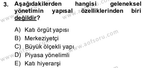 Maliye Bölümü 4. Yarıyıl Kamu Yönetimi Dersi 2014 Yılı Bahar Dönemi Ara Sınavı 3. Soru
