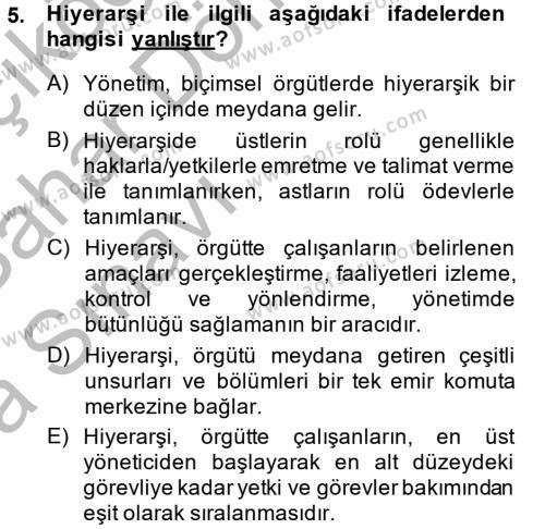 Maliye Bölümü 4. Yarıyıl Kamu Yönetimi Dersi 2014 Yılı Bahar Dönemi Ara Sınavı 5. Soru