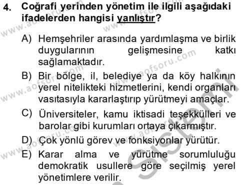 Kamu Yönetimi Dersi 2013 - 2014 Yılı Dönem Sonu Sınavı 4. Soru