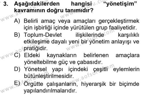 Yerel Yönetimler Bölümü 4. Yarıyıl Kamu Yönetimi Dersi 2014 Yılı Bahar Dönemi Tek Ders Sınavı 3. Soru