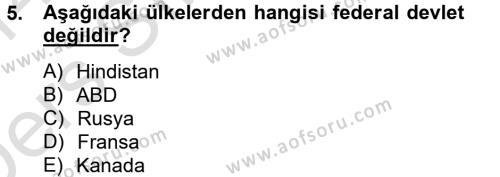 Yerel Yönetimler Bölümü 4. Yarıyıl Kamu Yönetimi Dersi 2014 Yılı Bahar Dönemi Tek Ders Sınavı 5. Soru