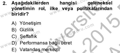 Kamu Yönetimi Dersi 2014 - 2015 Yılı Ara Sınavı 2. Soru
