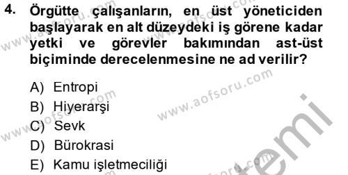 Kamu Yönetimi Dersi 2014 - 2015 Yılı Ara Sınavı 4. Soru