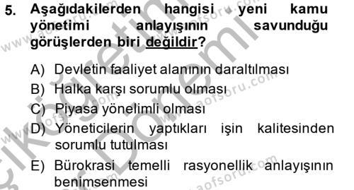 Yerel Yönetimler Bölümü 4. Yarıyıl Kamu Yönetimi Dersi 2015 Yılı Bahar Dönemi Ara Sınavı 5. Soru