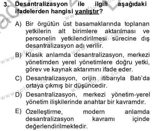 Kamu Yönetimi Dersi 2014 - 2015 Yılı Dönem Sonu Sınavı 3. Soru