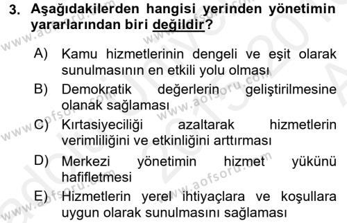 Kamu Yönetimi Dersi 2015 - 2016 Yılı Ara Sınavı 3. Soru