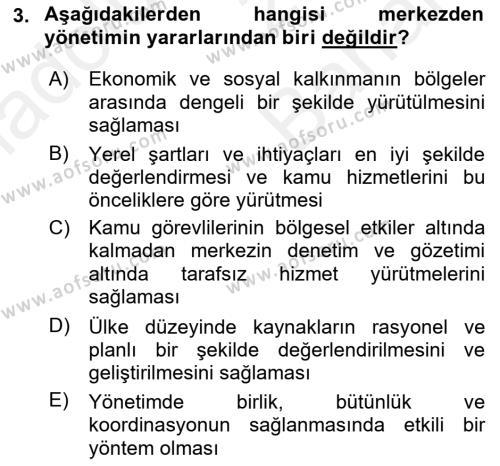 Kamu Yönetimi Dersi 2018 - 2019 Yılı (Vize) Ara Sınav Soruları 3. Soru