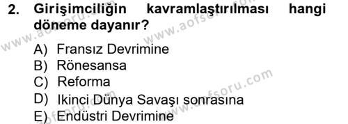Spor Yönetimi Bölümü 3. Yarıyıl Girişimcilik ve İş Kurma Dersi 2013 Yılı Güz Dönemi Ara Sınavı 2. Soru