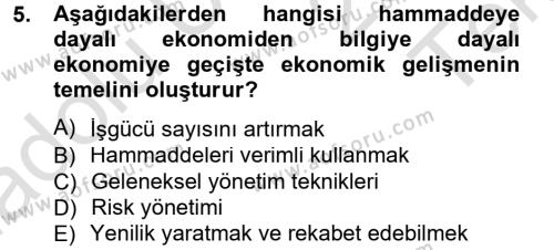 Ev İdaresi Bölümü 3. Yarıyıl Girişimcilik ve İş Kurma Dersi 2014 Yılı Güz Dönemi Tek Ders Sınavı 5. Soru