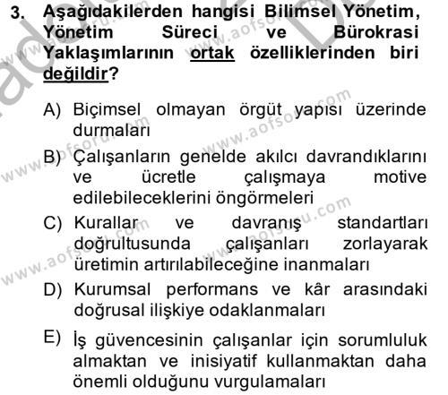 İşletme Yönetimi Dersi 2014 - 2015 Yılı (Final) Dönem Sonu Sınav Soruları 3. Soru