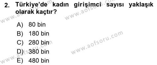 Türk Dili ve Edebiyatı Bölümü 7. Yarıyıl Girişimcilik ve İş Kurma Dersi 2016 Yılı Güz Dönemi Ara Sınavı 2. Soru