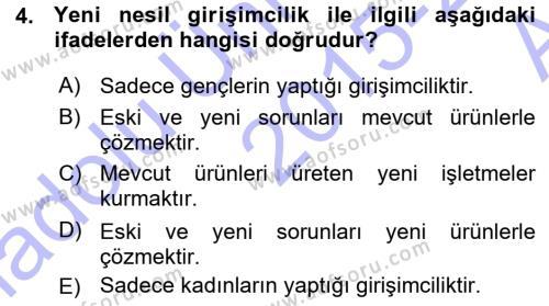 Türk Dili ve Edebiyatı Bölümü 7. Yarıyıl Girişimcilik ve İş Kurma Dersi 2016 Yılı Güz Dönemi Ara Sınavı 4. Soru