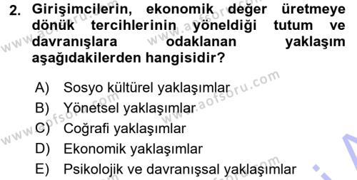 Türk Dili ve Edebiyatı Bölümü 7. Yarıyıl Girişimcilik ve İş Kurma Dersi 2016 Yılı Güz Dönemi Dönem Sonu Sınavı 2. Soru