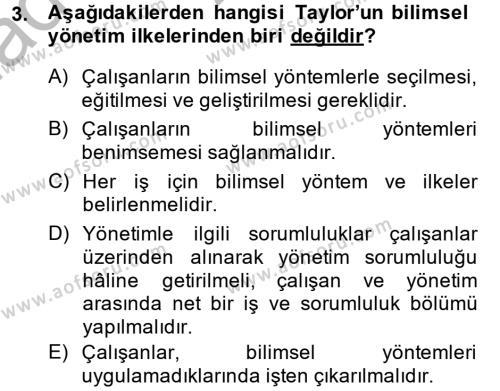 Örgüt Kuramı Dersi 2013 - 2014 Yılı Ara Sınavı 3. Soru