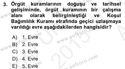 Örgüt Kuramı Dersi 2015 - 2016 Yılı Ara Sınavı 3. Soru